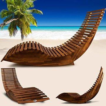 Deuba Schwungliege   FSC®-zertifiziertes Akazienholz   Ergonomisch   Vormontierte Latten   Wippfunktion   Gartenliege Sonnenliege Relaxliege Saunaliege - 2