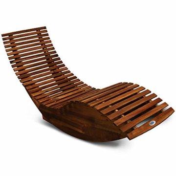 Deuba Schwungliege   FSC®-zertifiziertes Akazienholz   Ergonomisch   Vormontierte Latten   Wippfunktion   Gartenliege Sonnenliege Relaxliege Saunaliege - 1