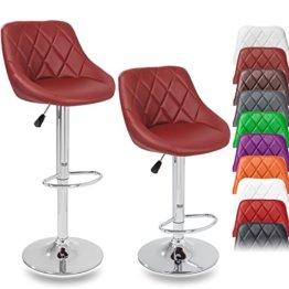 DWD-Company 2er Set Barhocker Barstuhl 10 Farben wählbar, 360° Frei Drehbar, Sitzhöhenverstellung 60-80cm (Weinrot) - 1