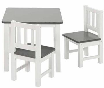 ♥ BOMI® Holzsitzgruppe für Kinder Amy aus Kiefer Massiv Holz für Kleinkinder, Mädchen und Jungen Grau Weiß - 2