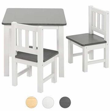 ♥ BOMI® Holzsitzgruppe für Kinder Amy aus Kiefer Massiv Holz für Kleinkinder, Mädchen und Jungen Grau Weiß - 1