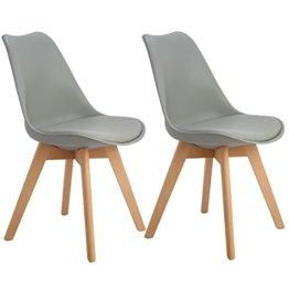 EGGREE 2er Set Esszimmerstühle mit Massivholz Buche Bein, Retro Design Gepolsterter lStuhl Küchenstuhl Holz, Grau - 1