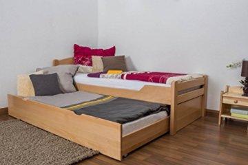 """Einzelbett/Funktionsbett""""Easy Premium Line"""" K1/h Voll inkl. 2. Liegeplatz und 2 Abdeckblenden, 90 x 200 cm Buche Vollholz massiv Natur - 1"""