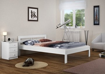 Erst-Holz® Massivholzbett weiß Kiefer Jugendbett 120x200 Einzelbett Futonbett mit Rollrost 60.64-12 W - 2
