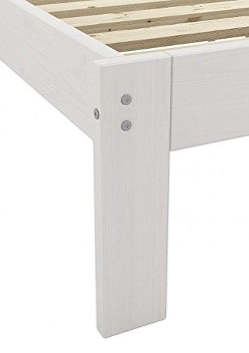 Erst-Holz® Massivholzbett weiß Kiefer Jugendbett 120x200 Einzelbett Futonbett mit Rollrost 60.64-12 W - 5