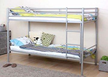 Etagenbett HWC-D93, Hochbett Gästebett Bett Metallbett Stockbett mit Leiter, 90x200cm - 2