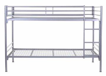 Etagenbett HWC-D93, Hochbett Gästebett Bett Metallbett Stockbett mit Leiter, 90x200cm - 4