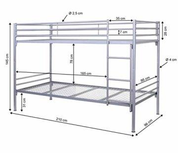 Etagenbett HWC-D93, Hochbett Gästebett Bett Metallbett Stockbett mit Leiter, 90x200cm - 5