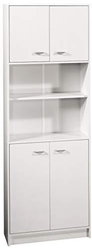 FACKELMANN Doppel-Hochschrank STANDARD/mit Kunststoffgriffen/Maße (B x H x T): ca. 65 x 182 x 30 cm/Schrank für das Bad/Möbel für das WC oder Badezimmer/Korpus: Weiß/Front: Weiß - 1
