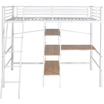 Festnight Kinder Hochbett mit Schreibtisch Regal Metallrahmen Funktionsbett Kinderzimmer Jugendbett für Matratzengröße 200x90cm - Weiß und Braun - 2