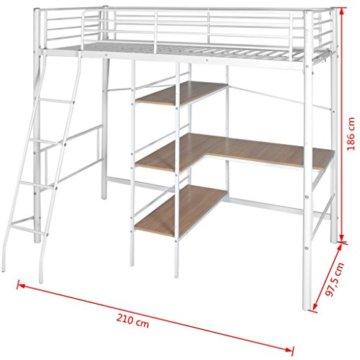 Festnight Kinder Hochbett mit Schreibtisch Regal Metallrahmen Funktionsbett Kinderzimmer Jugendbett für Matratzengröße 200x90cm - Weiß und Braun - 3