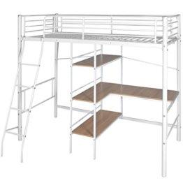Festnight Kinder Hochbett mit Schreibtisch Regal Metallrahmen Funktionsbett Kinderzimmer Jugendbett für Matratzengröße 200x90cm - Weiß und Braun - 1