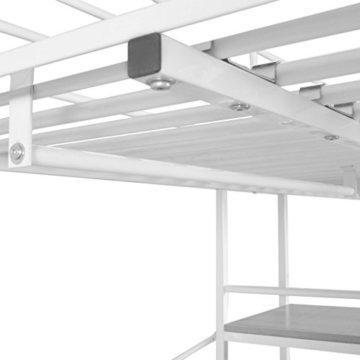 Festnight Kinder Hochbett mit Schreibtisch Regal Metallrahmen Funktionsbett Kinderzimmer Jugendbett für Matratzengröße 200x90cm - Weiß und Braun - 4