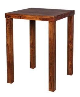 FineBuy Bartisch Massivholz Sheesham 80 x 80 x 110 cm Bistro-Tisch modern Landhaus-Stil Holz-Steh-Tisch quadratisch dunkel-braun Natur-Produkt Massiv-Holz-Möbel Hausbar Esstisch Echt-Holz unbehandelt - 1