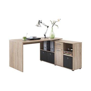 FMD Möbel 353-001 Schreibtisch-Winkelkombination Tisch ca. 136 x 75 x 68 cm, Regal ca. 137 x 71 x 33 cm - 1
