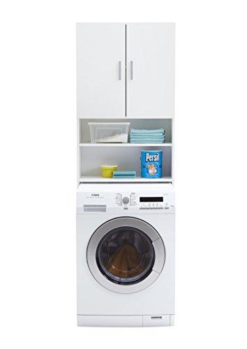 FMD Möbel L913-001 Olbia 2.0 Waschmaschinen,Trockner, WC-Überbau, Hauswirtschaftsschrank, Schrank mit Zwei Türen, Holz, Weiß, 64 x 26 x 190 cm - 2