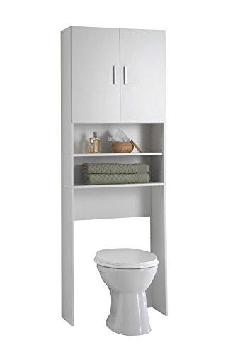 FMD Möbel L913-001 Olbia 2.0 Waschmaschinen,Trockner, WC-Überbau, Hauswirtschaftsschrank, Schrank mit Zwei Türen, Holz, Weiß, 64 x 26 x 190 cm - 3