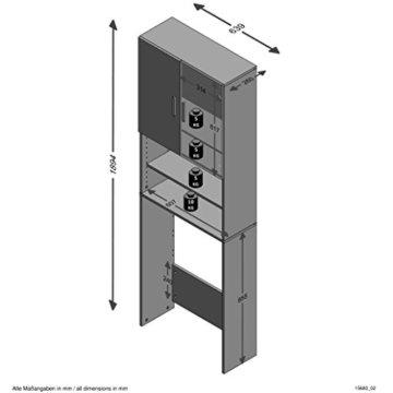 FMD Möbel L913-001 Olbia 2.0 Waschmaschinen,Trockner, WC-Überbau, Hauswirtschaftsschrank, Schrank mit Zwei Türen, Holz, Weiß, 64 x 26 x 190 cm - 4