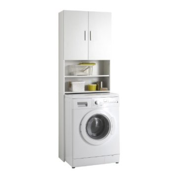 FMD Möbel L913-001 Olbia 2.0 Waschmaschinen,Trockner, WC-Überbau, Hauswirtschaftsschrank, Schrank mit Zwei Türen, Holz, Weiß, 64 x 26 x 190 cm - 1