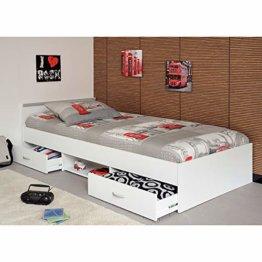 Funktionsbett Alawis 90 * 200 cm weiß inkl 2 Roll-Bettkästen Kinderbett Jugendbett Jugendliege Bett Jugendzimmer Kinderzimmer Bettliege - 1