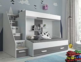 Furnistad | Etagenbett für Kinder Alfa | Doppelstockbett mit Treppe und Bettkasten (Weiß + Grau, 90 x 200 cm + 90 x 195 cm) - 1