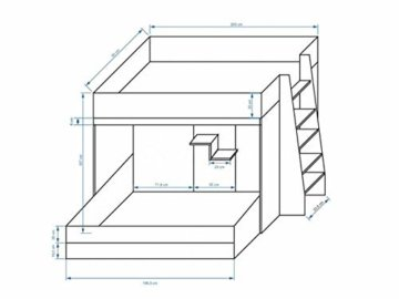 Furnistad | Etagenbett für Kinder Beta | Doppelstockbett mit Leiter und Bettkasten (Weiß + Weiß + Grau, 90 x 200 cm + 90 x 195 cm) - 2
