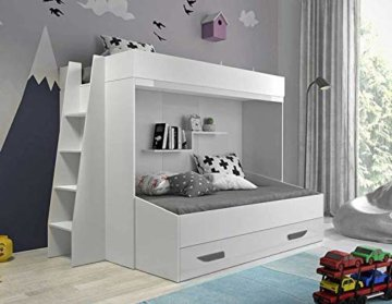 Furnistad | Etagenbett für Kinder Beta | Doppelstockbett mit Leiter und Bettkasten (Weiß + Weiß + Grau, 90 x 200 cm + 90 x 195 cm) - 1