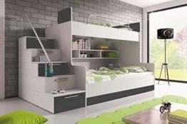 Furnistad   Etagenbett für Kinder Heaven   Stockbett mit Treppe und Bettkasten (Option links, Weiß + Grau) - 1