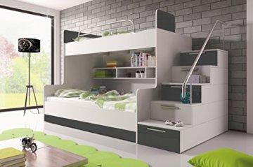 Furnistad | Etagenbett für Kinder Heaven | Stockbett mit Treppe und Bettkasten (Option rechts, Weiß + Grau) - 1