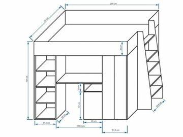 Furnistad | Hochbett für Kinder Delta | Kinderhochbett mit Leiter, Schrank und Schreibtisch (Weiß + Weiß + Rosa, 90 x 200 cm) - 2