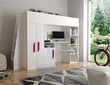 Furnistad | Hochbett für Kinder Delta | Kinderhochbett mit Leiter, Schrank und Schreibtisch (Weiß + Weiß + Rosa, 90 x 200 cm) - 1