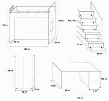 Furnistad | Hochbett für Kinder Sky | Kinderhochbett mit Treppe, Schreibtisch und Schrank (Option links, Weiß + Rosa) - 2