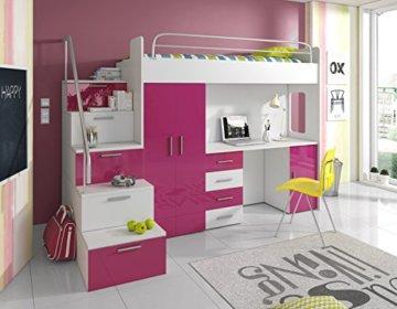 Furnistad | Hochbett für Kinder Sky | Kinderhochbett mit Treppe, Schreibtisch und Schrank (Option links, Weiß + Rosa) - 1