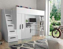 Furnistad | Hochbett für Kinder Sunrise | Kinderhochbett mit Treppe, Schreibtisch und Schrank (Weiß + Weiß + Grau, 90 x 200 cm) - 1
