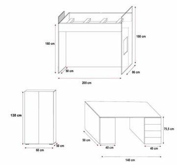 Furnistad Kinderzimmer Komplett Smart | Kinder Hochbett mit Leiter, Schreibtisch und Schrank (Option rechts, Weiß + Blau) - 2