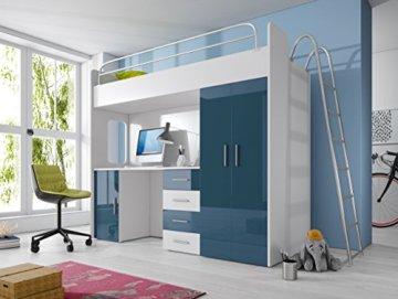 Furnistad Kinderzimmer Komplett Smart | Kinder Hochbett mit Leiter, Schreibtisch und Schrank (Option rechts, Weiß + Blau) - 1