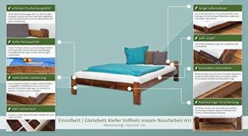 Futonbett / Massivholzbett Kiefer Massivholz Farbe nuss A8, inkl. Lattenrost - Abmessung 140 x 200 cm - 2