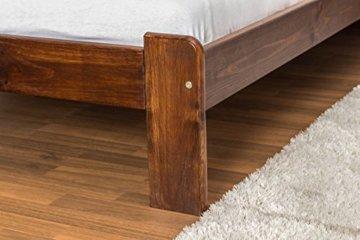 Futonbett / Massivholzbett Kiefer Massivholz Farbe nuss A8, inkl. Lattenrost - Abmessung 140 x 200 cm - 3