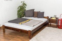 Futonbett / Massivholzbett Kiefer Massivholz Farbe nuss A8, inkl. Lattenrost - Abmessung 140 x 200 cm - 1