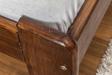 Futonbett / Massivholzbett Kiefer Massivholz Farbe nuss A8, inkl. Lattenrost - Abmessung 140 x 200 cm - 4