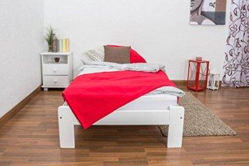 Futonbett / Massivholzbett Kiefer Vollholz massiv weiß lackiert A10, inkl. Lattenrost - Abmessung 90 x 200 cm - 2