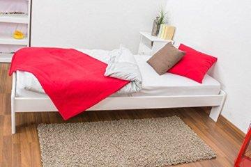 Futonbett / Massivholzbett Kiefer Vollholz massiv weiß lackiert A10, inkl. Lattenrost - Abmessung 90 x 200 cm - 3