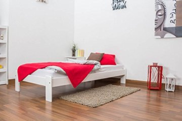 Futonbett / Massivholzbett Kiefer Vollholz massiv weiß lackiert A10, inkl. Lattenrost - Abmessung 90 x 200 cm - 4