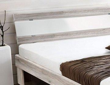 Futonbett mit RADIUS Sandeiche Dekor/ Hochglanz weiß 140 x 200 cm inkl. Matra... - 2