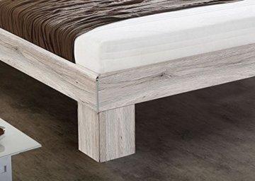 Futonbett mit RADIUS Sandeiche Dekor/ Hochglanz weiß 140 x 200 cm inkl. Matra... - 3