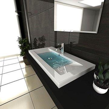Gäste WC Waschtisch Eckiges Aufsatz Waschbecken aus Mineralguss / 90 cm Breite Handwaschbecken mit Überlauf - 2