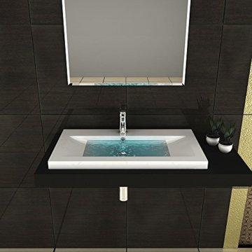 Gäste WC Waschtisch Eckiges Aufsatz Waschbecken aus Mineralguss / 90 cm Breite Handwaschbecken mit Überlauf - 3