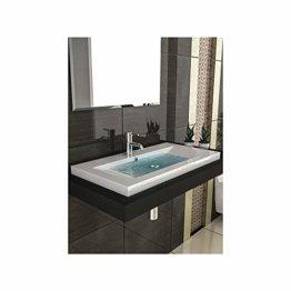 Gäste WC Waschtisch Eckiges Aufsatz Waschbecken aus Mineralguss / 90 cm Breite Handwaschbecken mit Überlauf - 1