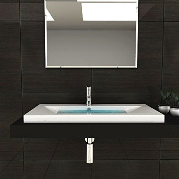 Gäste WC Waschtisch Eckiges Aufsatz Waschbecken aus Mineralguss / 90 cm Breite Handwaschbecken mit Überlauf - 4