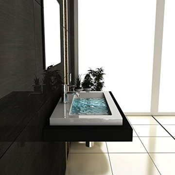 Gäste WC Waschtisch Eckiges Aufsatz Waschbecken aus Mineralguss / 90 cm Breite Handwaschbecken mit Überlauf - 5